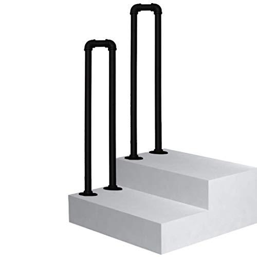 GAXQFEI Pasamanos de Transición para Jardín para Pasamanos de Escalón Piquete para 1 Escalón Barandilla de Escalera Negra Mate Pasamanos de Hierro Forjado con Kit de Instalación Pasamanos Barandilla