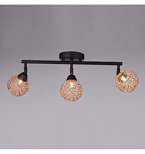 KOSILUM - Plafonnier cuisine triple boules couleur champagne - Houston - Lumière Blanc Chaud Eclairage Salon Chambre Cuisine Couloir - 3 x 40W - - G9 - IP20