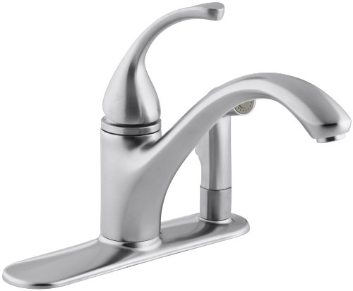 """KOHLER 10413-G Forté(R) 3-Hole Sink 9-1/16"""" spout with Matching Finish sidespray in Escutcheon Kitchen Faucet, Brushed Chrome"""