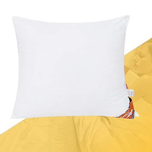 ComfortAce® Fournet - Almohada de plumas con funda de algodón, 80 x 80 cm, relleno de cojín blanco de pato, lavable, antiácaros, color blanco