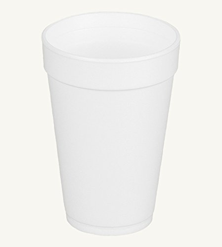 Dart 16J16, 16 Oz. White Foam Cup and Translucent Lid with Straw Slot, Customizable Disposable Hot and Cold Drink Beverage Soda Cups (100)