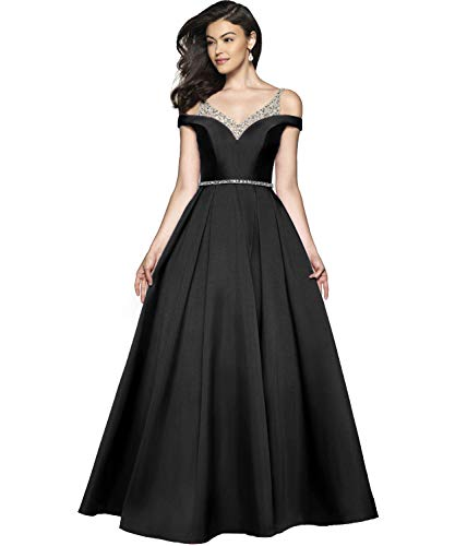 YGSY Women's Cold Shoulder V Neck Pleated Satin A-line Evening Prom Dress Long Formal Party Gown with Beaded Bodice