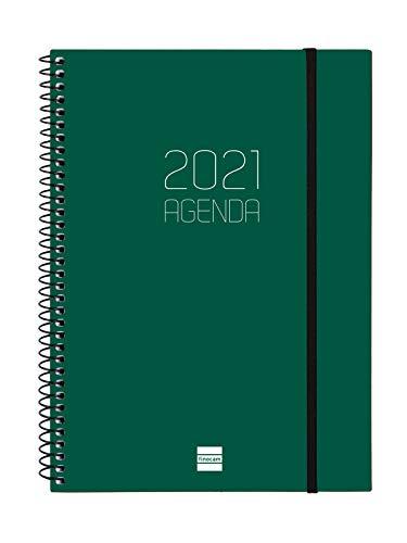 Finocam - Agenda 2021 Semana vista apaisada Espiral Opaque Verde Euskera