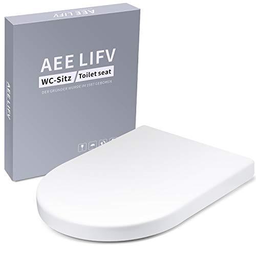 AEE LIFV WC Sitz D-Form Toilettensitz mit Absenkautomatik und Quick-Realse Funktion,4 Sitzdämpfer,WC Deckel aus Weiß Duroplast