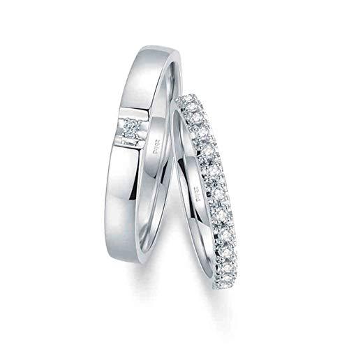 Bishilin Anillos Marrige para Mujeres y Hombres 18K Oro Blanco Mujer Talla 23,5 & Hombre Talla 20 Corolla Elegante Blanco Redonda Diamante Anillo de Compromiso y Alianza de Boda Plata