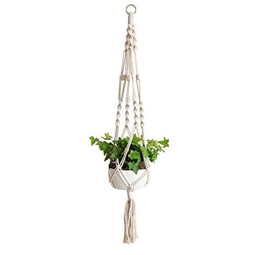 Fansi 1 pieza de diseño de paisaje horticultural, color verde, tejido a mano natural, cuerda de cáñamo fino, bolsa para colgar cesta de plantas, balcón, jardín, Cuerda de cáñamo, Blanco, 20*18cm