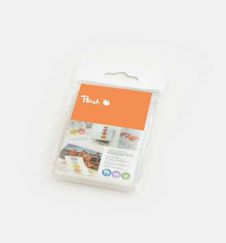 Peach Luggage Tag Laminating Pouches, 125 mic, glossy, PPR525-11, set of 25