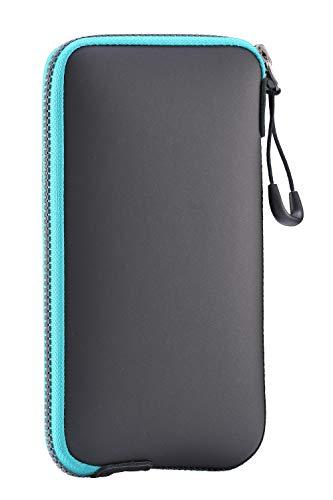 OneJoy Handytasche, wasserdichte Hülle, Beuteltasche, Sporttasche Mini, Sporttaschen mit Reißverschluss, AJ10–5799, schwarz mit blauem Reißverschluss, 17 cm x 9 cm, für Handy