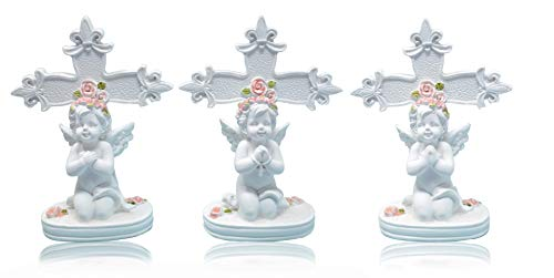 Piquaboo Set of 3 Praying Cherubs with Rose Wreath Cross Ornaments
