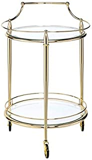"""Major-Q 9098285 31"""" H Modern Style Round 5mm Clear Tempered Glass Top Gold Finish Metal Frame Kitchen Island Wine Serving Cart with 3 Caster Wheels"""