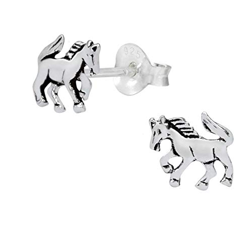 FIVE-D - Orecchini a forma di cavallo in argento Sterling 925, con custodia