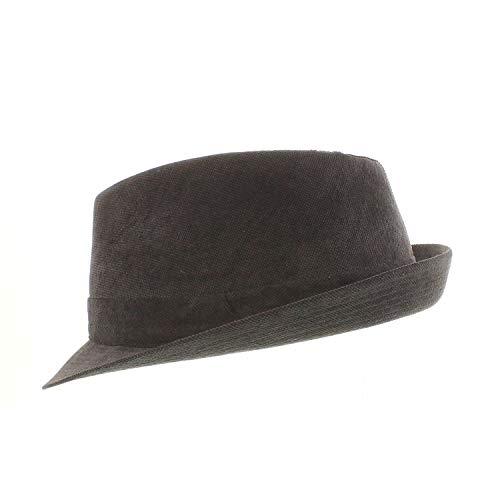 Votrechapeau - Chapeau Trilby - Petit Bord - Torres - Noir surpiqué - Tour de tête 55
