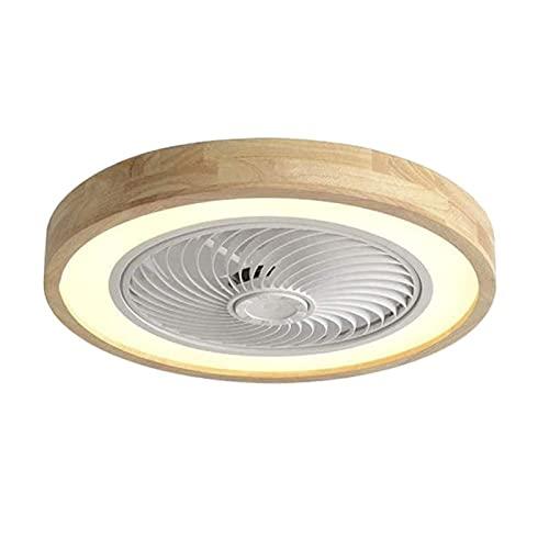 Ventilador de techo de madera, iluminación de luz de techo de ventilador invisible DIRIGIÓ Luz, regulable con control remoto, lámpara de ventilador silenciosa, lámpara de techo para dormitorio, sala d