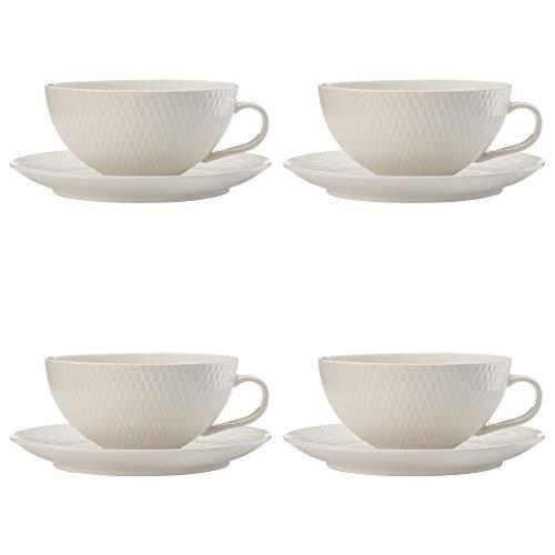 Maxwell & Williams White Basics Diamonds Teetasse und Untertasse, Porzellan, Weiß, 250 ml, 4 Stück