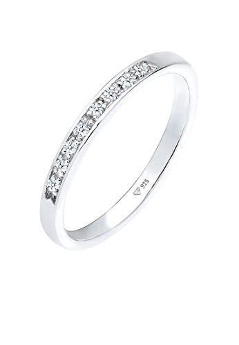 DIAMORE Ring Damen Klassisch Edel mit Diamant (0.08 ct.) aus 925 Sterling Silber