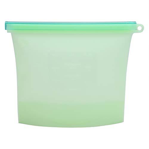 Opbergtas gemaakt van siliconen, 1000 ml herbruikbare afdichting opslag, niet-giftige en geurloze container koelkast fruit vlees melk opbergzak (groen)