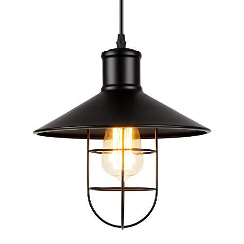 GIGALUMI Retro Industrial Lámpara colgante Iluminación de techo Lámpara vintage Pantalla metálica con jaula E27 para cocina Cafetería Loft Restaurante Oficina
