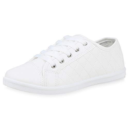 SCARPE VITA Damen Sneaker Low Turnschuhe Schnürer Gesteppte Leder-Optik Schuhe Bequeme Freizeitschuhe Flats 192580 Weiss Weiss Total 38