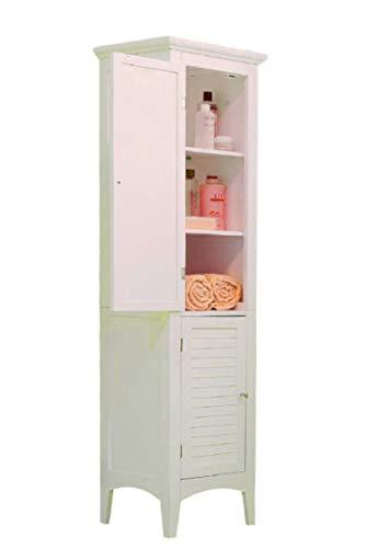 STS SUPPLIES LTD Free Standing Towel Racks Cabinet for Bathroom 4 Shelves Quilt Holder Wooden Door Organizer Storage Floor Storage White Stand & Ebook by AllTim3Shopping.