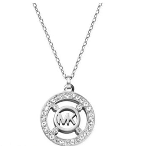 Michael Kors MKJ4099040 Silver Tone Circle Mk Logo Necklace