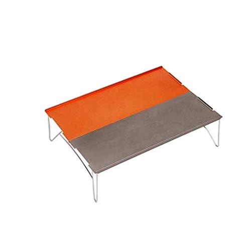 TIREOW Klappbarer Campingtisch Tragbare Camping Beistelltische Aluminium Tischplatte Tabelle für Rucksacktouren Camping BBQ Picknicks (Orange)