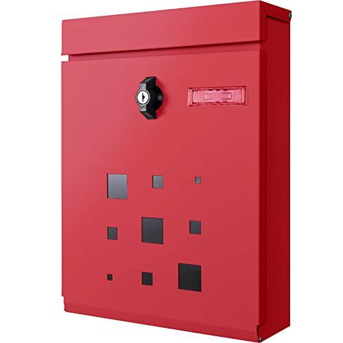カバポスト(Cabapost) ポスト 郵便ポスト 壁掛け 鍵付き 簡易ロック 大型 ポスト郵便受け おしゃれ A4 赤