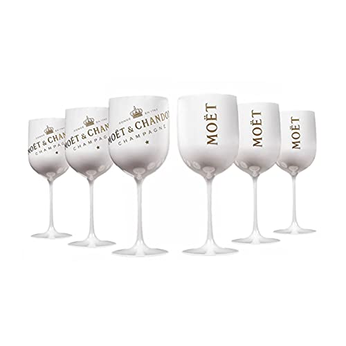 6 Stück Moët & Chandon Ice Imperial Champagner 480ml Acryl-Glas Becher Kelch,Wine Party Moet Rose Piccolo , Weiß (6 Stücke)