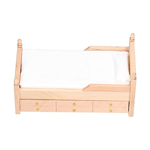 Zerodis 1:12 Mini Puppenhaus Dekoration Zubehör,Mini Puppenhaus Bett Birke Miniatur Wohnzimmer Kinder So Tun Als Ob Spielzeug