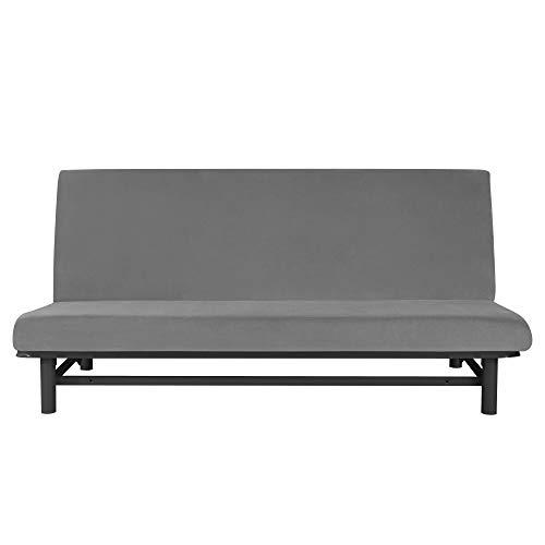 MILARAN Samt Sofabezug 3 sitzer, 1-Stück Soft Stretch Couchbezug Ohne Armstützen, Weiche Schlafsofa Bettdecke,Dunkelgrau