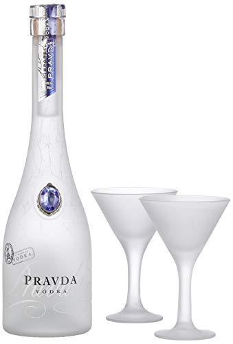 Pravda Wodka Geschenkset mit 2 Gläsern (1x 0.35l)