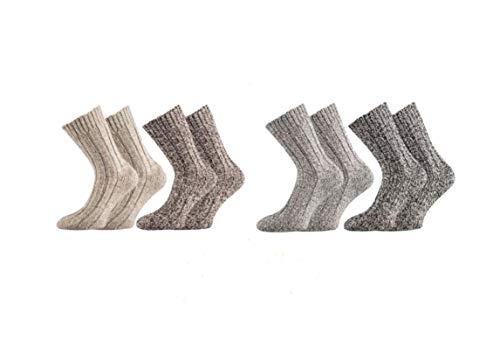 TippTexx 24 4 Paar superweiche Norweger-Socken für Damen & Herren in Naturtönen (Natür Töne, 43/46)