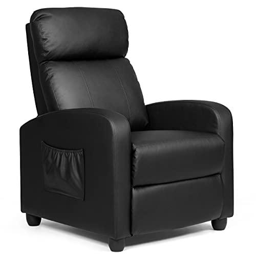 RELAX4LIFE Relaxsessel Liegefunktion, Fernsehsessel PU-Leder, TV-Sessel mit Verstellbarer Rückenlehne & Fußstütze, Sessel mit Seitentasche, Liegesessel für Wohnzimmer, bis 200 kg belastbar (Schwarz)
