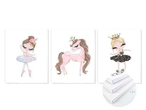 Pack 3 Tríptico cuadros con marco decorativos de lienzo impreso infantiles para decoración pared habitación dormitorio niños con bastidor de madera - 3 cuadros tamaño 40x50cm (Bailarinas)