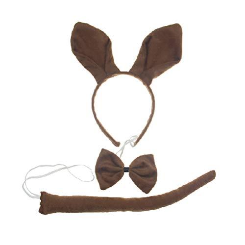 TOYANDONA Kinder Kostüm Set Känguru Haarband Fliege und Schwanz Halloween Party Zubehör 3 Stücke (Braun)