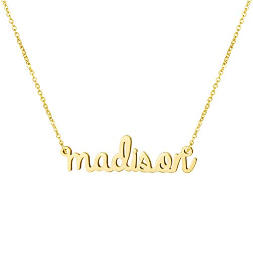 Awegift Name Necklace Big Initial Gold Plated Best Friend Jewelry Women Gift for Her Madison