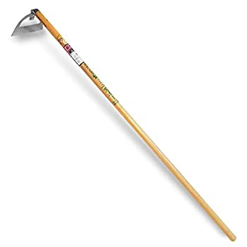 Nisaku NJP1014 Handheld Long Handle Draw Hoe Authentic Tomita  Est 1960  Japanese Stainless Steel 6  Blade Width Polished Wood