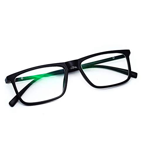 ANEMONE® Premium Zero power anti-glare lenses In Rectangular Spring Action Spectacle Frame For Protection to sunlight and digital screen (unisex // black)