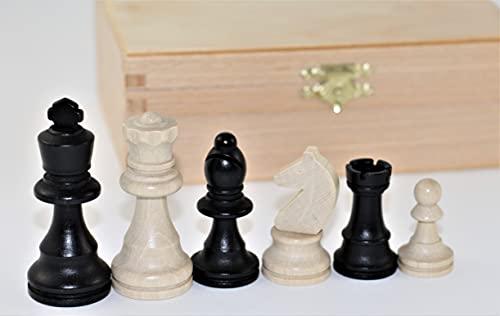 Figuras de ajedrez de Haya, 74 mm, en Caja de Madera.