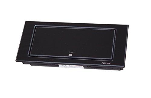 Schulte 1592 7100 1700 EVOline Backflip, 2 Schukosteckdosen, 1 STK. USB-Charger, Glas schwarz