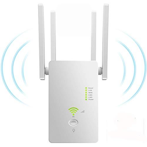 Lvozize Ripetitore WiFi Wireless,AC1200 WiFi Extender,Amplificatore WiFi Ripetitore,Wi-Fi Dual Band(2.4GHZ 300Mbps&5.8GHz 867Mbps) Wireless Signal Booster,Supporta la modalità AP/Ripetitore/Router