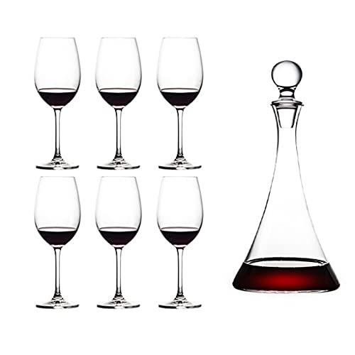 Bicchiere di Cristallo Set di Bicchieri da Vino Rosso Bicchiere da Vino in Cristallo per Uso Domestico Decanter Calice Creativo Set da 7 Pezzi per Vino Decanter Triangolare
