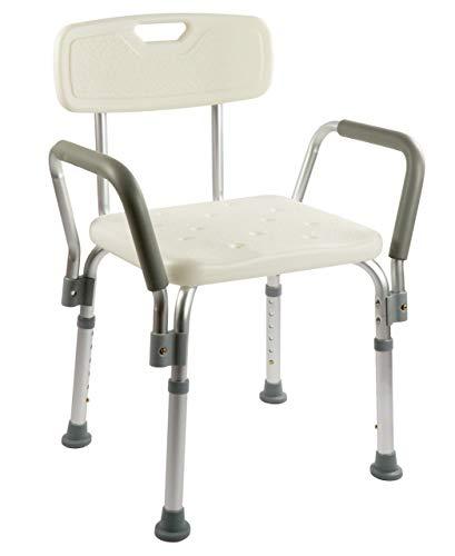 OrtoPrime Silla Ducha con Respaldo Extraible - Taburete Baño Ortopédico Adultos y Niños - Reposabrazos Acolchados - Regulable 8 Alturas - Asiento de Aseo Cómodo y Seguro ⭐