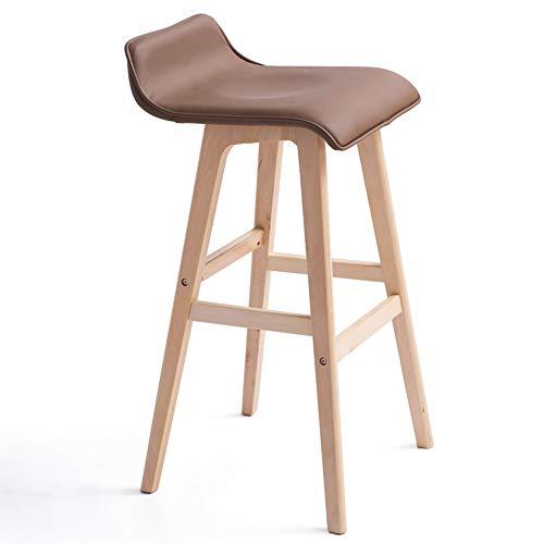 Tabouret de bar, bois massif, chaise de bar, rétro européen, tabouret haut, chaise de loisir (couleur : marron, dimensions : 65 cm)