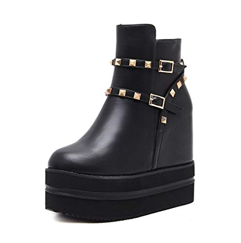 XBRMMM Botas de Mujer/Tacones Altos Ocultos Botas de Entrenadores de 13 cm Remaches de tacón Alto Botines de Moda cálidos Negros Botas de Vestir de Fiesta