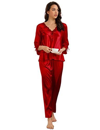 ohyeahlady Pijama Mujer 2 Piezas Seda Camiseta de Manga 3/4 y Pantalones Largos Invierno Ropa de Dormir Larga Seda