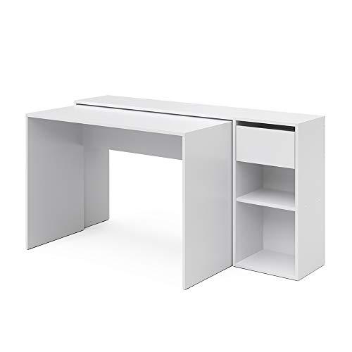 Vicco Schreibtisch Ben Computertisch ausziehbar Arbeitstisch Bürotisch (Weiß)