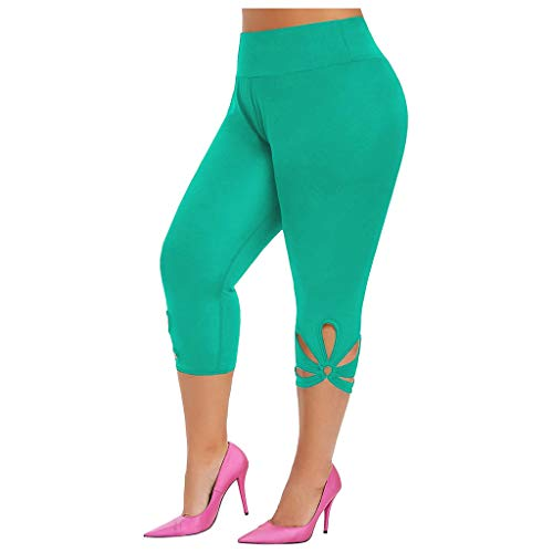 Womens High Waist Pants Elastic Lightweight Comfort Stylish Casual Solid Shorts(Green,3XL)