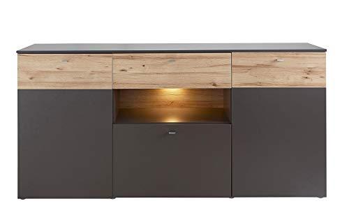 Muebletmoi - Aparador de 3 puertas 195 cm, bicolor madera clara y gris – Diseño contemporáneo – Colección Marbella