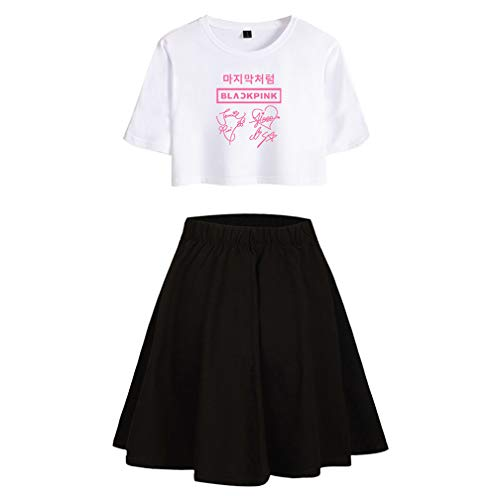 Enjoyyourlife Blackpink KPOP Ropa Camiseta Set Expuestos Falda Cortos Ombligo Traje De La Camiseta Crop Top T-Shirt