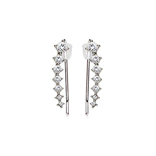 Tapsi´s Coolbodyart®| Ohr Klemme Manschette Rhodium Kristall, Quadrat Silber Klar